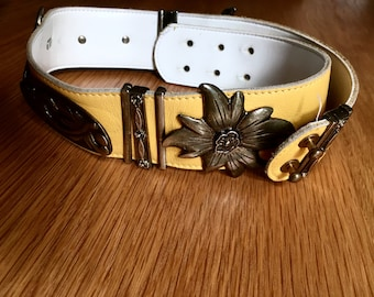 Vintage leather belt Yellow