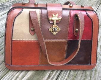 Vintage 1960's Burlington Leather Patchwork Bag
