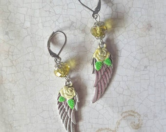 Angelic - Hand Painted Winged Rose Earrings with Crystal in Lemon Yellow
