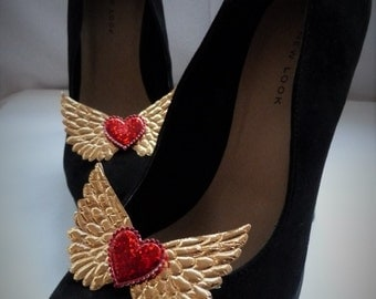 Shoe Clips - Gold Angel Wings & Red Heart, Pinup, Burlesque, Steampunk