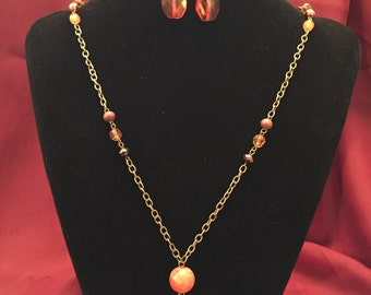 Amber Bead Necklace and Earring Set