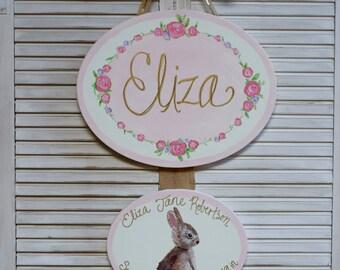 Hospital door hanger, girl door hanger, nursery art, personalized, baby shower gift, hand painted, custom, canvas art, hospital door sign