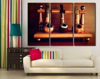 Large Wall Art Vintage Smoking Pipes Canvas Print / Large Old Tobacco Pipes Wall Art / Living Room Panel Art / Canvas Print / Vintage