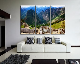 Large Wall Machu Picchu Canvas Color Machu Picchu Multipanel Canvas Peru  Art Large  1-3-4-5 Panels Canvas