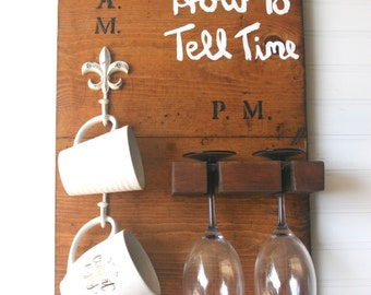 How To Tell Time Wooden Wine Glass and Coffee Mug Holder, Mountable Rack