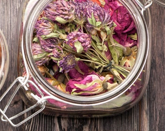 Certified Organic Organic Red Rose Petals, Hibiscus Flowers, or Lemon Balm Leaf 15 grams