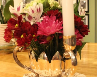Leonard Silver Plate Lotus Shaped Epergne with Three Candle Holders - A Perfect Holiday Centerpiece