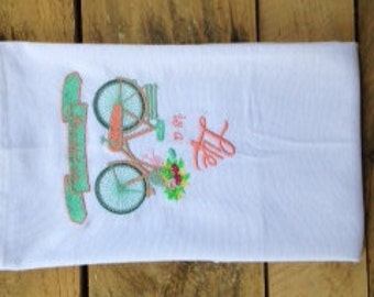 Life is a Beautiful Ride Coral/Mint Bicycle Flour Sack Towel