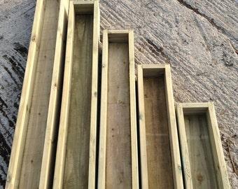 Wooden Planter Decking Garden Planters Narrow - 0.6M / 0.9M / 1.2M / 1.5M / 1.8M - Gardening Wood Plant Pots