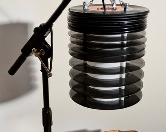 Black Vinyl 45 Record Mic Stand Table Top Lamp - R