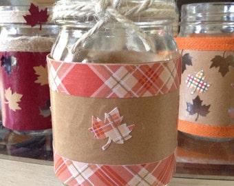 Fall laves mason jar tea light holder