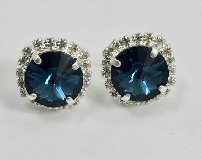 Something Blue Genuine Swarovski Rivoli Montana Blue Crystal Stud Earrings in a high polished silver setting. Nickel Free