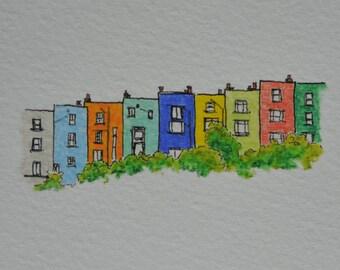 Coloured house sketch of Hotwells, Bristol