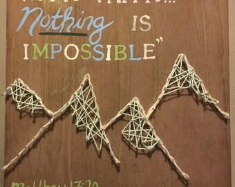 Mountain String Art Wooden Sign