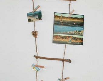 Door-wall photos in Driftwood - decoration / Driftwood wire photo holder