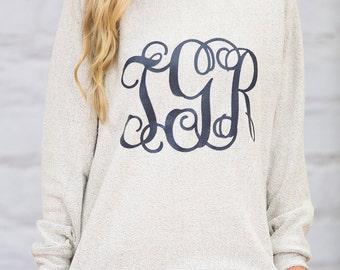 Vinyl Monogram Poodle Fleece Sweatshirts..2 Colors..Fuzzy and Soft..Comfortable Pullover..Preppy Pullover