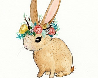 Bunny in a Floral Crown. Illustration Print.