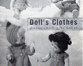 doll clothes knitting pattern PDF baby dolls outfits coat dress skirt sweater Vintage 50s 10 12 14 or 16 inch doll DK 3ply or 4ply download