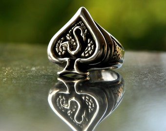 Ring Ace of Drako Spades - Silver 925 totally hand made