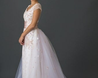 Sequin and Crystal Cherry Blossom Gown with Tulle Skirt