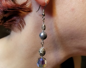 Faux Silver Pearl and Smoke Crystal Earrings