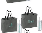 8 Bridesmaid Gifts Totes and Tumblers, Bridesmaids Gift, Wedding Tote and Tumbler Set, Personalized Tote and Tumbler, Bachelorette Party