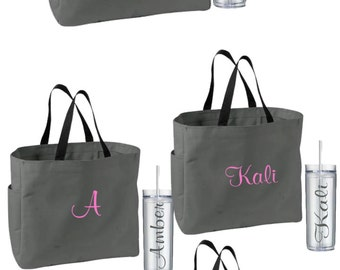 11 Bridesmaid Tote and Tumblers, Set of 11 Personalized Tumbler and Totes, Bridesmaid Gift, Bridesmaid Gifts, Bridal Party Bags, Wedding