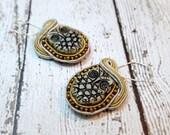 Ivory Owl Soutache Earrings, Owl Earrings, Beaded Jewelry, Fiber Jewelry, Owl Jewelry, Beaded Earrings
