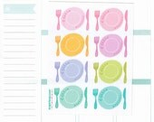 8, large, hand drawn, meal icons, fork, plate, knife, meal planning stickers,lunch date, dinner date, Erin Condren, Plum Paper, Filofax etc