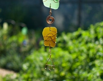 Wind Chimes Sea Glass and Copper with Brass Chimes suncatcher beach glass stained glass windchimes