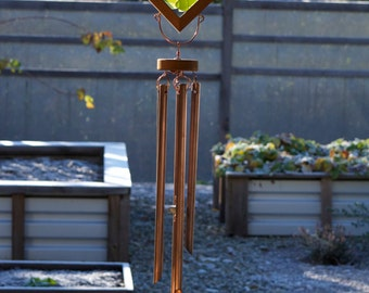 Sun Catcher Wind Chime Glass Cedar with Large Copper Chimes, sea glass stained glass windchimes