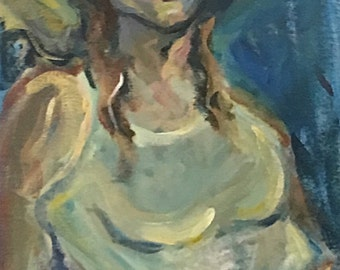 THE BEACH HAT impressionistic reclining female in blues, violets and yellows