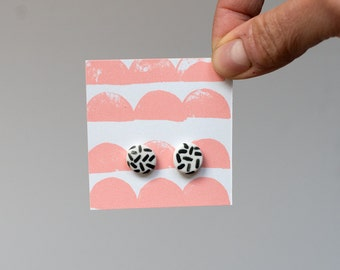 Porcelain Ceramic Stud Earrings - Hand Painted Dashes. Made in Melbourne.