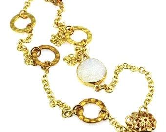 White Druzy Bracelet, Druzy Bracelet, Druzy Jewelry, White Gemstone Bracelet, Gold Druzy Bracelet, White Gem Bracelet, White Stone Bracelet