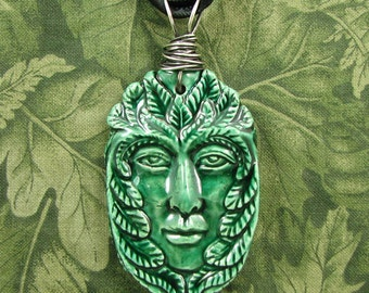 Green Man - Blue Grass Green Glaze Ceramic large Pendant with Sterling Bail - OOAK