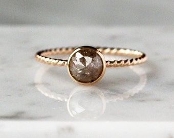 Rose Cut Diamond Ring, Twisted Rope Band, Unique Engagement Ring, Natural Color Diamond, 14k Yellow Gold, Ecofriendly Conflict Free