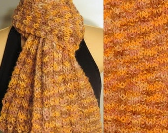 Hand Made Knit Scarf Llama Wool Evening Sunset Pink Orange Brown