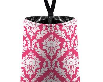 Car Trash Bag // Auto Trash Bag // Car Accessories // Car Litter Bag // Car Garbage Bag - Hot Pink Damask // Car Organizer