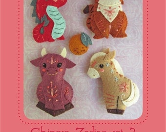 Mini Chinese Zodiac plush Set 3 PDF sewing pattern felt animal patterns ornaments