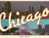 Vintage 1960s Postcard Chicago Illinois Night View Scenic Skyline Fountain Lights City Photochrome Era Postally Unused