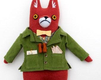 Boy Fox Fellow wool doll plush Birdwatcher