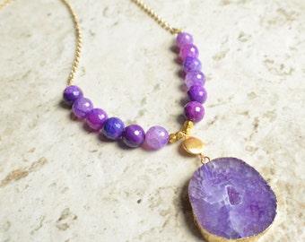 The Seraphina- Purple Agate Pendant Gold Chain Necklace