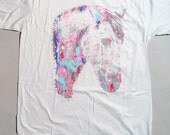 Horse t shirt, multicolor print, mens tee, OOAK t-shirt, gray t-shirt, shaman girl, 1AEON multicolor Shaman Girl tee -  Size mens L