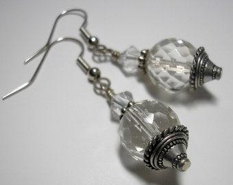 SALE - Crystal Ball Drop Earrings