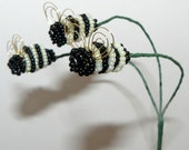 Pale Yellow Bumblebee Trio Plant Stick For Your Beaded Flower or Artificial Flower Arrangement