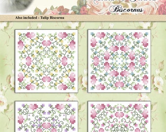 Counted Cross Stitch Pattern Hearts And Flowers Biscornus