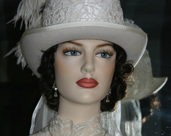 "Victorian Riding Top Hat for Wedding ""LA Brianne"""