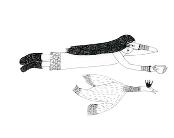 A5 Print: Sky Siren with a Royal Swan and a Cup of Tea Print A5 Limited Edition Signed and Numbered Print