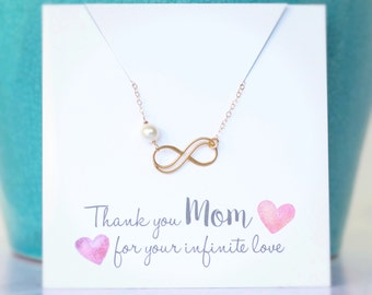 Gift for MOM, Gold MOM Necklace, Infinity Necklace, Pearl Necklace, Mother of the Bride Gift, Mother of the Groom Gift, Birthstone Necklace