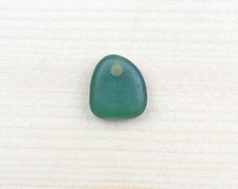 top-drilled seaglass pendant, teal green pendant, genuine sea glass, drilled beachglass, handcrafted craft supply, jewelry making supplies